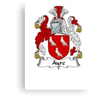 Coat of arms (family crest) for last-name or surname Ayre . Heraldry banner for your name. Canvas Print