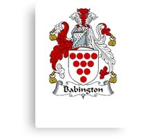 Coat of arms (family crest) for last-name or surname Babington . Heraldry banner for your name. Canvas Print