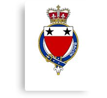 Coat of arms (family crest) for last-name or surname Bacon (England) . Heraldry banner for your name. Canvas Print