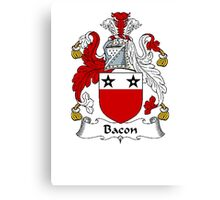 Coat of arms (family crest) for last-name or surname Bacon . Heraldry banner for your name. Canvas Print