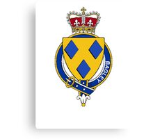 Coat of arms (family crest) for last-name or surname Bagley or Begley (England) . Heraldry banner for your name. Canvas Print