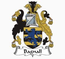 Coat of arms (family crest) for last-name or surname Bagnall . Heraldry banner for your name. by rita24