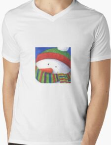 Cute Christmas Snowman with scarf Mens V-Neck T-Shirt