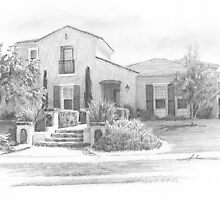 Southern CA home pencil drawing by Mike Theuer