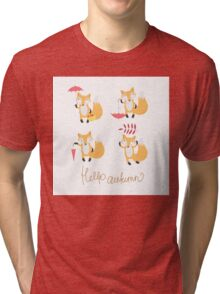 Set with foxes. Tri-blend T-Shirt