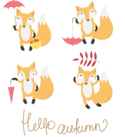 Set with foxes. Sticker