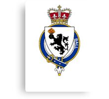 Coat of arms (family crest) for last-name or surname Ball (England) . Heraldry banner for your name. Canvas Print
