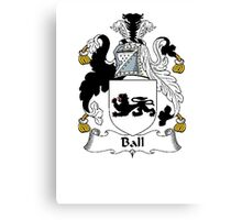 Coat of arms (family crest) for last-name or surname Ball . Heraldry banner for your name. Canvas Print