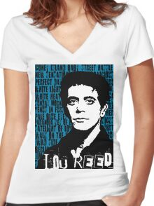 Lou Reed Women's Fitted V-Neck T-Shirt