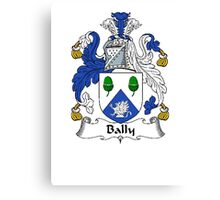 Coat of arms (family crest) for last-name or surname Bally . Heraldry banner for your name. Canvas Print