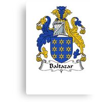 Coat of arms (family crest) for last-name or surname Baltazar . Heraldry banner for your name. Canvas Print
