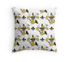 Black and Gold Crawfish Fleur de Lis Pattern Throw Pillow