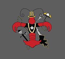 Red Crawfish Fleur de Lis by StudioBlack