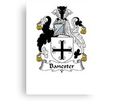 Coat of arms (family crest) for last-name or surname Banester . Heraldry banner for your name. Canvas Print
