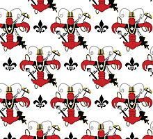 Red Crawfish Fleur de Lis Pattern by StudioBlack