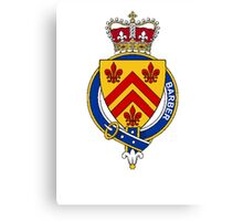 Coat of arms (family crest) for last-name or surname Barber (England) . Heraldry banner for your name. Canvas Print