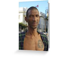 Street sweeper, Havana, Cuba. Greeting Card