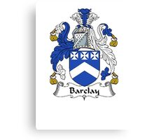 Coat of arms (family crest) for last-name or surname Barclay . Heraldry banner for your name. Canvas Print