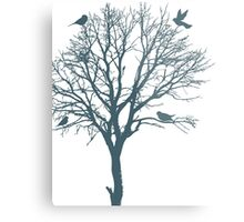 Blue and White Tree Art Metal Print