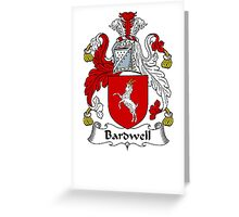 Coat of arms (family crest) for last-name or surname Bardwell . Heraldry banner for your name. Greeting Card