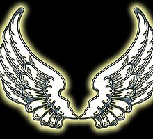 ANGEL, Wings, angelology, Flight, Fly, Angel, Angelic, Air Force, Jets, on BLACK by TOM HILL - Designer