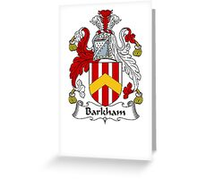 Coat of arms (family crest) for last-name or surname Barkham . Heraldry banner for your name. Greeting Card