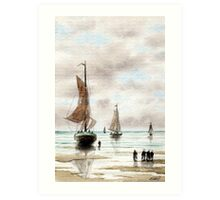 VLAARDINGEN HOLLAND ABOUT 1875 - AQUAREL Art Print