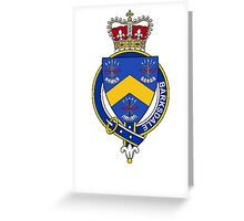Coat of arms (family crest) for last-name or surname Barksdale (England) . Heraldry banner for your name. Greeting Card