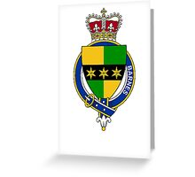 Coat of arms (family crest) for last-name or surname Barnes (England) . Heraldry banner for your name. Greeting Card