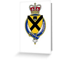 Coat of arms (family crest) for last-name or surname Barnett (England) . Heraldry banner for your name. Greeting Card
