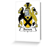 Coat of arms (family crest) for last-name or surname Barnett . Heraldry banner for your name. Greeting Card