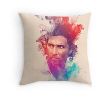 Matthew McConaughey Ink Watercolor Splash Portrait True Detective Throw Pillow