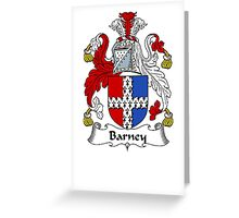 Coat of arms (family crest) for last-name or surname Barney . Heraldry banner for your name. Greeting Card