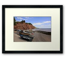 Fishing boats on the beach Framed Print