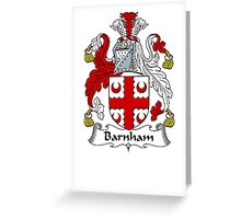 Coat of arms (family crest) for last-name or surname Barnham . Heraldry banner for your name. Greeting Card