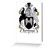 Coat of arms (family crest) for last-name or surname Barnhouse . Heraldry banner for your name. Greeting Card