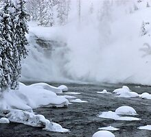 Firehole River falls by Nancy Richard