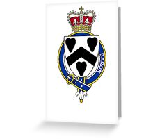 Coat of arms (family crest) for last-name or surname Baron (England) . Heraldry banner for your name. Greeting Card
