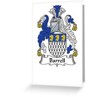 Coat of arms (family crest) for last-name or surname Barrell . Heraldry banner for your name. Greeting Card