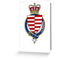 Coat of arms (family crest) for last-name or surname Barrett (Ireland) . Heraldry banner for your name. Greeting Card