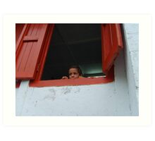 Peeking over the sill. Art Print