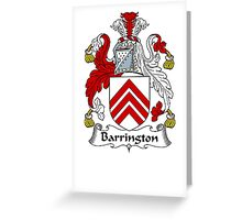 Coat of arms (family crest) for last-name or surname Barrington . Heraldry banner for your name. Greeting Card