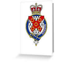 Coat of arms (family crest) for last-name or surname Barron (Ireland) . Heraldry banner for your name. Greeting Card