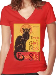 Le Chat Noir Vintage Poster Women's Fitted V-Neck T-Shirt