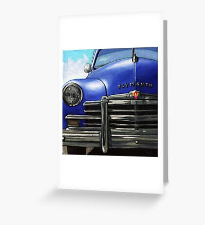 Vintage BLUE PLYMOUTH classic car Greeting Card