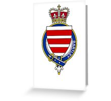 Coat of arms (family crest) for last-name or surname Bartley (Scotland) . Heraldry banner for your name. Greeting Card