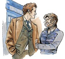 Rose and The Doctor inspired watercolour by Witmewhatme