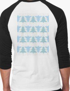 Blue Christmas Trees Men's Baseball ¾ T-Shirt