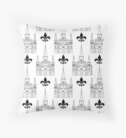 St. Louis Cathedral Pattern (Black) Throw Pillow