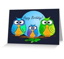Happy birthday card with owls Greeting Card